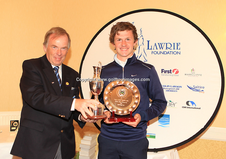 Iain Harvey, President, Scottish Golf Union presents Connor Syme with the Paul Lawrie Foundation, Scottish Schools  Golf Championship Trophy: The Paul Lawrie Foundation Scottish Schools Golf Championships played at Murrayshall House Hotel and Golf Courses on 10th June 2013: Picture Stuart Adams www.golftourimages.com: 10th June 2013