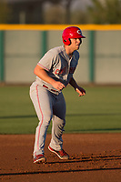 AZL Reds catcher Stuart Turner (32) takes a lead off second base in a rehab assignment during an Arizona League game against the AZL Cubs 2 at Sloan Park on June 18, 2018 in Mesa, Arizona. AZL Cubs 2 defeated the AZL Reds 4-3. (Zachary Lucy/Four Seam Images)