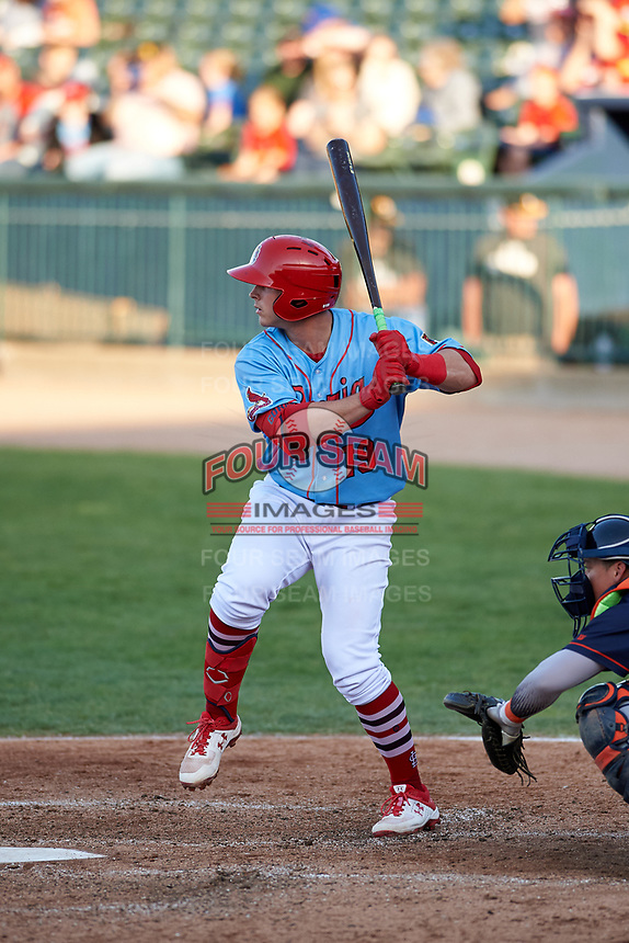 Peoria Chiefs third baseman Nolan Gorman (19) during a Midwest League game against the Bowling Green Hot Rods at Dozer Park on May 5, 2019 in Peoria, Illinois. Peoria defeated Bowling Green 11-3. (Zachary Lucy/Four Seam Images)