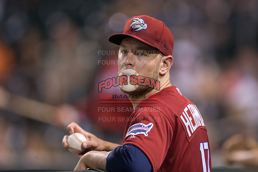Lehigh Valley Iron Pigs relief pitcher Frank Herrmann (17) during the game against the Charlotte Knights at BB&T BallPark on June 3, 2016 in Charlotte, North Carolina.  The Iron Pigs defeated the Knights 6-4.  (Brian Westerholt/Four Seam Images)