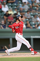 Center fielder Cole Brannen (10) of the Greenville Drive bats in a game against the Rome Braves on Friday, June 28, 2019, at Fluor Field at the West End in Greenville, South Carolina. Rome won, 4-3. (Tom Priddy/Four Seam Images)