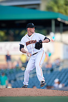 Jupiter Hammerheads relief pitcher Drew Rucinski (5) delivers a pitch during a game against the Palm Beach Cardinals on August 4, 2018 at Roger Dean Chevrolet Stadium in Jupiter, Florida.  Palm Beach defeated Jupiter 7-6.  (Mike Janes/Four Seam Images)