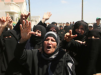 "Women react during the funeral of six Palestinians killed by Israeli troops in the southern Gaza Strip August 15, 2007. Israeli forces killed six Palestinians on Tuesday when they clashed with militants during a raid on the Hamas-controlled Gaza Strip, Palestinian militant and hospital sources said. ""photo by Fady Adwan"""