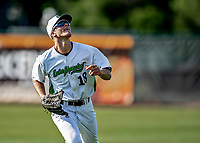 20 June 2021: Vermont Lake Monsters outfielder Sky Rahill, from Burlington, VT, returns to the dugout from right field during a game against the Westfield Starfires at Centennial Field in Burlington, Vermont. Rahill went 1 for 2 with a walk and a two-run homer in the 8th inning, accounting for all the home team scoring, as the Lake Monsters fell to the Starfires 10-2 at Centennial Field, in Burlington, Vermont. Mandatory Credit: Ed Wolfstein Photo *** RAW (NEF) Image File Available ***