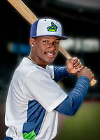 13 June 2018: Vermont Lake Monsters infielder Marcos Brito poses for a portrait on Photo Day at Centennial Field in Burlington, Vermont. The Lake Monsters are the Single-A minor league affiliate of the Oakland Athletics, and play a short season in the NY Penn League Stedler Division. Mandatory Credit: Ed Wolfstein Photo *** RAW (NEF) Image File Available ***