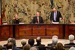 """Irene Garrido, King Juan Carlos and Luis Maria Linde during the """"Premio de Economía Rey Juan Carlos"""" to Jose Luis Garcia Delgado at Banco de España in Madrid. November 17, Spain. 2016. (ALTERPHOTOS/BorjaB.Hojas)"""