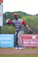 Dominican Republican shortstop Jose Reyes (7) warms up in between innings during a Spring Training exhibition game against the Baltimore Orioles on March 7, 2017 at Ed Smith Stadium in Sarasota, Florida.  Baltimore defeated the Dominican Republic 5-4.  (Mike Janes/Four Seam Images)