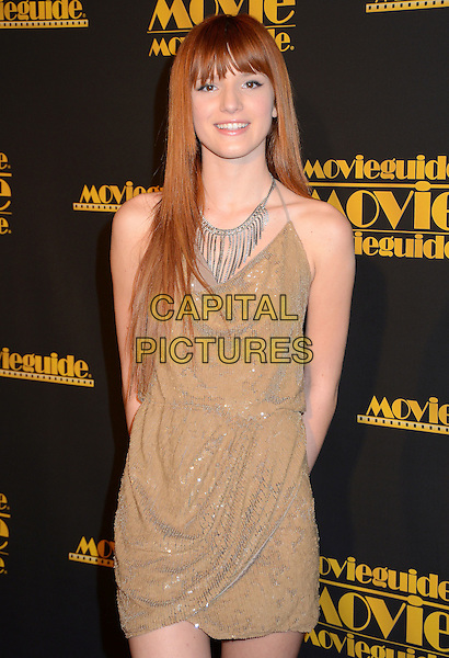 Bella Thorne.2012 Movieguide Awards Faith And Family Values Gala held at Universal Studios Hilton Hotel, Universal City, California, USA, 10th February 2012..half  length beige gold dress silver tassel necklace .CAP/ADM.© Birdie Thompson/AdMedia/Capital Pictures.