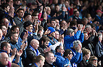 Dundee v St Johnstone...25.04.15   SPFL<br /> Saints fans applaud their team at full time<br /> Picture by Graeme Hart.<br /> Copyright Perthshire Picture Agency<br /> Tel: 01738 623350  Mobile: 07990 594431