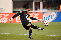 Honduras goalkeeper Noel Valladares (18). Honduras defeated Costa Rica on penalty kicks after playing to a 1-1 tie during a quarterfinal match of the 2011 CONCACAF Gold Cup at the New Meadowlands Stadium in East Rutherford, NJ, on June 18, 2011.