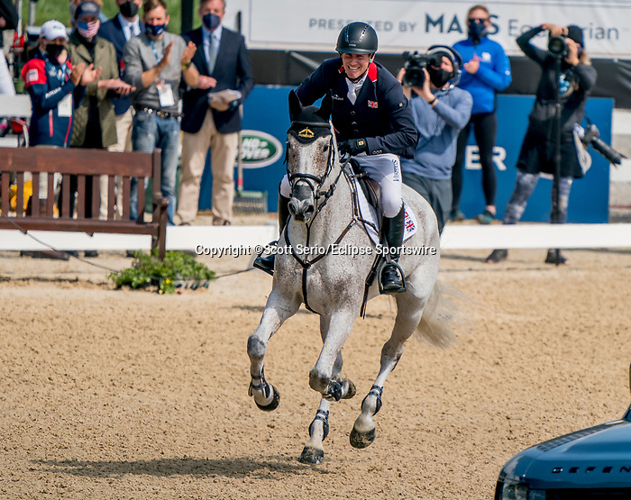 April 25, 2021: Oliver Townend reacts with joy after a double clear round in the Stadium Jumping finals to win the Land Rover 5* 3-Day Event aboard Ballaghmor Class at the Kentucky Horse Park in Lexington, Kentucky. Scott Serio/Eclipse Sportswire/CSM