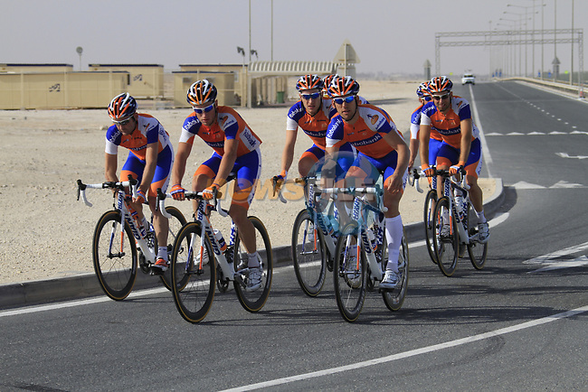 Rabobank team warms up before the 2nd Stage of the 2012 Tour of Qatar an 11.3km team time trial at Lusail Circuit, Doha, Qatar. 6th February 2012.<br /> (Photo Eoin Clarke/Newsfile)