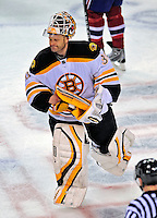 22 April 2009: Boston Bruins' goaltender Tim Thomas skates off the ice after defeating the Montreal Canadiens at the Bell Centre in Montreal, Quebec, Canada. The Bruins advance to the Eastern Semi-Finals, eliminating the Canadiens from Stanley Cup competition with their 4-1 win and series sweep. ***** Editorial Sales Only ***** Mandatory Credit: Ed Wolfstein Photo
