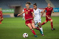 Spain's Irene Paredes England's Nikita Parris during the frendly match between woman teams of  Spain and England at Fernando Escartin Stadium in Guadalajara, Spain. October 25, 2016. (ALTERPHOTOS/Rodrigo Jimenez) /NORTEPHOTO.COM