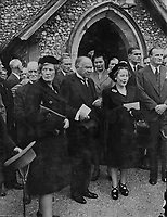 Viscount Bennett, former Prime Minister of Canada, known as the Empire builder, was buried at St Michaels, picturesque 14th century parish church of Mickelham, Surrey, yesterday, a few yards from the drive of the house where he lived in his retirement. The service was conducted by the Bishop of Guildford - Dr J. Macmillan. <br /> Picture shows: Lord Braverbrook (centre) was among those who attended the funeral service. With him at right is Lady Selsdon.<br /> 1 July 1947