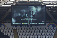 A tribute to His Royal Highness, The Prince Philip, Duke of Edinburgh displayed on the big screen prior to the Sky Bet Championship match Swansea City and Wycombe Wanderers at Liberty Stadium in Swansea, Wales. Sporting stadiums around the UK remain under strict restrictions due to the Coronavirus Pandemic as Government social distancing laws prohibit fans inside venues resulting in games being played behind closed doors.<br /> Saturday 17 April 2021