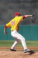 Kyle Twomey #24 of the USC Trojans pitches against the Northwestern Wildcats at Dedeaux Field on  February 16, 2014 in Los Angeles, California. USC defeated Northwestern, 13-6. (Larry Goren/Four Seam Images)