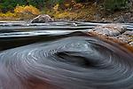 Ottawa National Forest, Michigan:<br /> Black River foam tracing circles in a small eddy.  Black River Recreation Area, Upper Penninsula