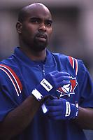 Carlos Delgado of the Toronto Blue Jays during a 2001 season MLB game at Angel Stadium in Anaheim, California. (Larry Goren/Four Seam Images)