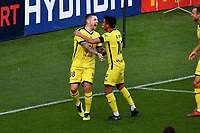 15th March 2020, Wellington, New Zealand;  Phoenix's Gary Hooper (L) celebrates his goal with team mate Ulises Davila Plascencia during the A-League - Wellington Phoenix versus Melbourne Victory football match at Sky Stadium in Wellington on Sunday the 15th March 2020.