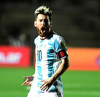 SAN JUAN- ARGENTINA-15-11-2016: Lionel Messi, jugador de Argentina, celebra el gol anotado a Colombia, durante partido entre los seleccionados de Argentina y Colombia por la fecha 12 válido por la clasificación a la Copa Mundo FIFA Rusia 2018, jugado en el Estadio San Juan del Bicentenario de la ciudad de San Juan. /  Lionel Messi, player of Argentina, celebrates a scored goal to Colombia, during match between Argentina and Colombia for the date 12 valid for the  FIFA World Cup Russia 2018, Qualifier played at San Juan del Bicentenario Stadium in San Juan city. Photo: VizzorImage / Mario Garcia /Photogamma / Cont.