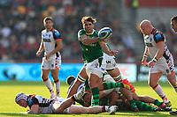 9th October 2021; Brentford Community Stadium, Brentford, London; Gallagher Premiership Rugby, London Irish versus Leicester Tigers; Nick Phipps of London Irish passes the ball