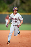 Minnesota Golden Gophers center fielder Drew Hmielewski (21) running the bases during a game against the Boston College Eagles on February 23, 2018 at North Charlotte Regional Park in Port Charlotte, Florida.  Minnesota defeated Boston College 14-1.  (Mike Janes/Four Seam Images)