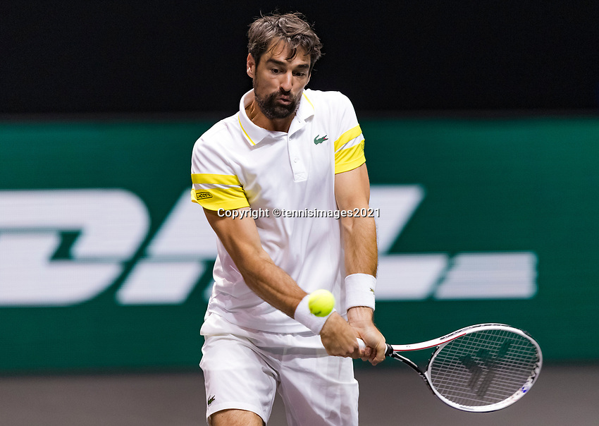Rotterdam, The Netherlands, 4 march  2021, ABNAMRO World Tennis Tournament, Ahoy, Second round singles: Jeremy Chardy (FRA).<br /> Photo: www.tennisimages.com/henkkoster
