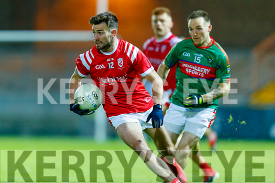 Brendan O'Keeffe, East Kerry and Darran O'Sullivan, Mid Kerry during the Kerry County Senior Football Championship Final match between East Kerry and Mid Kerry at Austin Stack Park in Tralee on Saturday night.