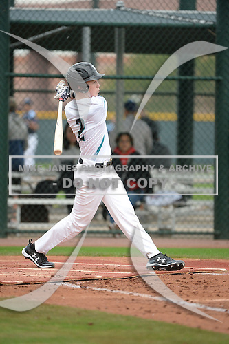 Kade Garmany (2) of North Webster High School in Sarepta, Louisiana during the Under Armour All-American Pre-Season Tournament presented by Baseball Factory on January 14, 2017 at Sloan Park in Mesa, Arizona.  (Art Foxall/Mike Janes Photography)
