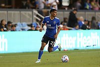 SAN JOSE, CA - AUGUST 17: Marcos Lopez #27 of the San Jose Earthquakes during a game between Minnesota United FC and San Jose Earthquakes at PayPal Park on August 17, 2021 in San Jose, California.