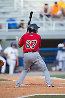 Kamran Young (27) of the Elizabethton Twins at bat against the Kingsport Mets at Hunter Wright Stadium on July 9, 2015 in Kingsport, Tennessee.  The Twins defeated the Mets 9-7 in 11 innings. (Brian Westerholt/Four Seam Images)