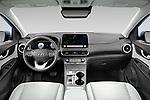 Stock photo of straight dashboard view of 2022 Hyundai Kona-Electric Limited 5 Door SUV Dashboard
