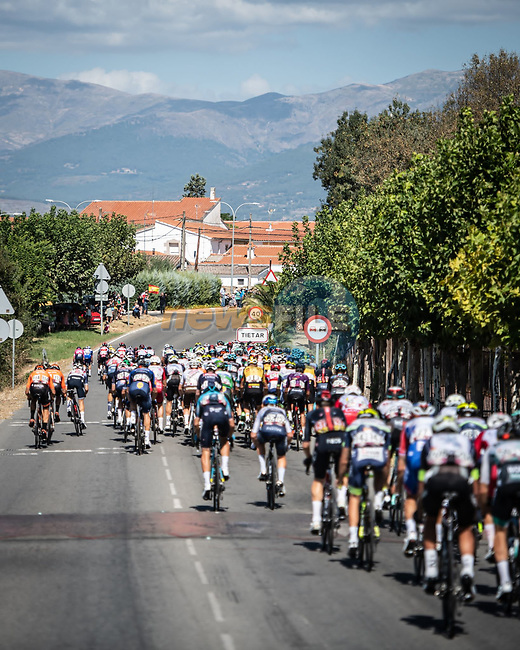 The peloton during Stage 15 of La Vuelta d'Espana 2021, running 197.5km from Navalmoral de la Mata to El Barraco, Spain. 29th August 2021.     <br /> Picture: Charly Lopez/Unipublic | Cyclefile<br /> <br /> All photos usage must carry mandatory copyright credit (© Cyclefile | Unipublic/Charly Lopez)