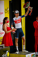 10th July 2021; Carcassonne, France; MOLLEMA Bauke (NED) of TREK - SEGAFREDO pictured during the podium ceremony after winning the Prix Antargaz during stage 14 of the 108th edition of the 2021 Tour de France cycling race, a stage of 183,7 kms between Carcassonne and Quillan
