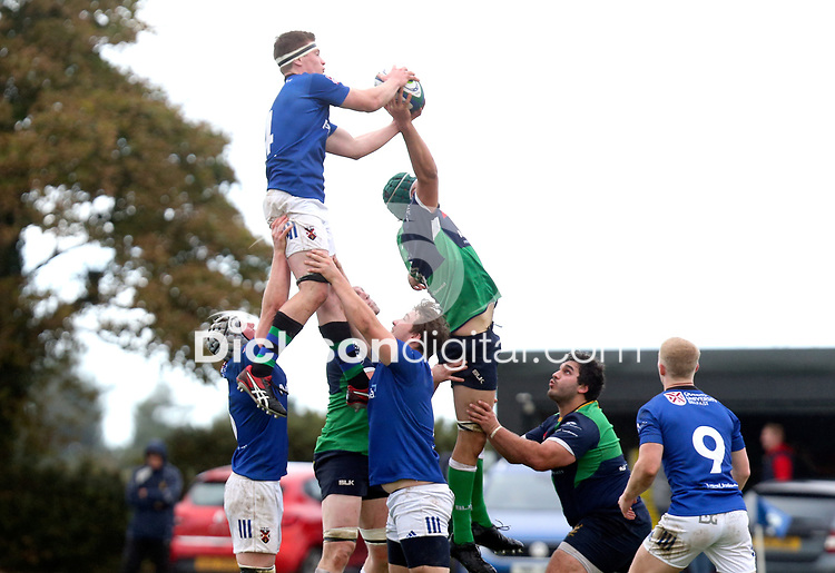 Saturday 10th October 2020   Ballynahinch vs Queens<br /> <br /> David Whitten win this ball during the Energia Community Series clash between Ballynahinch and Queens at Ballymacarn Park, Ballynahinch, County Down, Northern Ireland. Photo by John Dickson / Dicksondigital