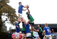 Saturday 10th October 2020 | Ballynahinch vs Queens<br /> <br /> David Whitten win this ball during the Energia Community Series clash between Ballynahinch and Queens at Ballymacarn Park, Ballynahinch, County Down, Northern Ireland. Photo by John Dickson / Dicksondigital