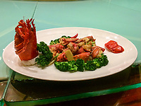 Lobster and Broccoli for Lunch, Guiyang, Guizhou, China.