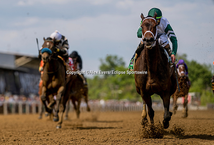 May 15, 2021 : Chub Wagon, #5, ridden by jockey Irad Ortiz Jr., wins the Runhappy Skipat Stakes on Preakness Stakes Day at Pimlico Race Track in Baltimore, Maryland on May 15, 2021. Alex Evers/Eclipse Sportswire/CSM