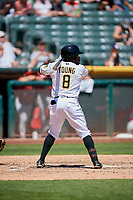 Eric Young Jr. (8) of the Salt Lake Bees bats against the Albuquerque Isotopes at Smith's Ballpark on April 22, 2018 in Salt Lake City, Utah. The Bees defeated the Isotopes 11-9. (Stephen Smith/Four Seam Images)