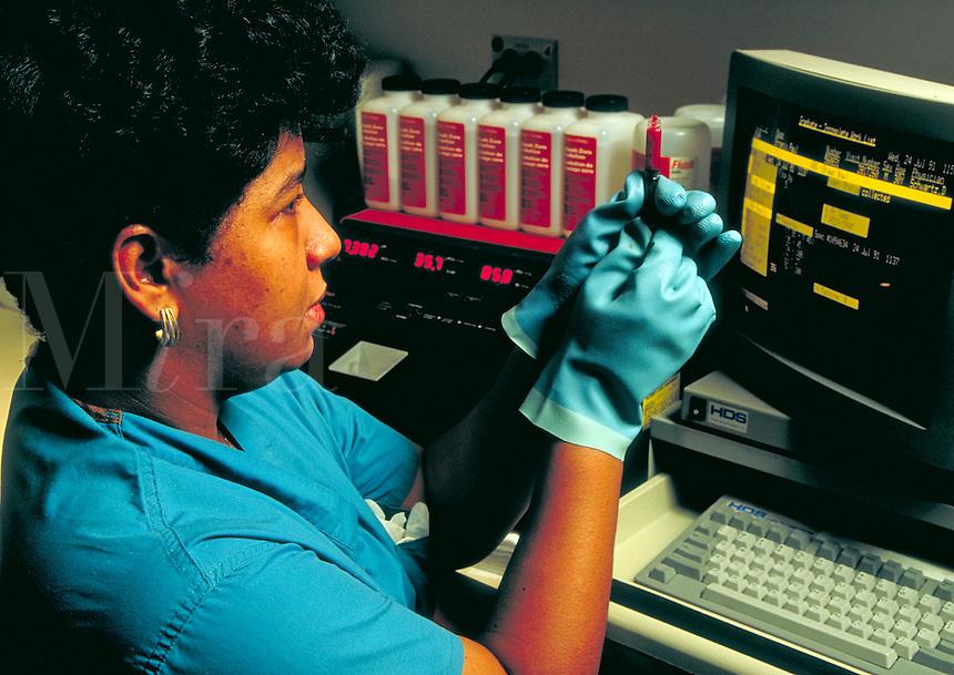 Technician in a blood gas lab.