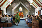 Aug 12, 2014; Mass with Fr. Tim Scully, C.S.C., director of Institute for Educational Initiatives in Galway. 82 Notre Dame students participated in the Summer 2014 Ireland Inside Track program.  The 8-day program involved cultural excursions, tours and travel between Dublin and the West of Ireland. Students learned about Ireland's rich culture, complex history and contemporary business such and Google and Twitter.  (Photo by Barbara Johnston/University of Notre Dame)