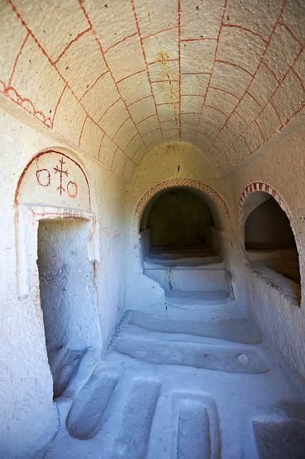 Early Christian rock cave churches in the tuff rock at Goreme Park, Cappadocia, Turkey