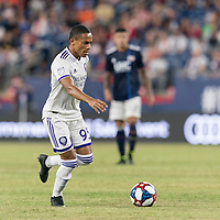 FOXBOROUGH, MA - JULY 28: Robinho #95 dribbles during a game between Orlando City SC and New England Revolution at Gillette Stadium on July 27, 2019 in Foxborough, Massachusetts.