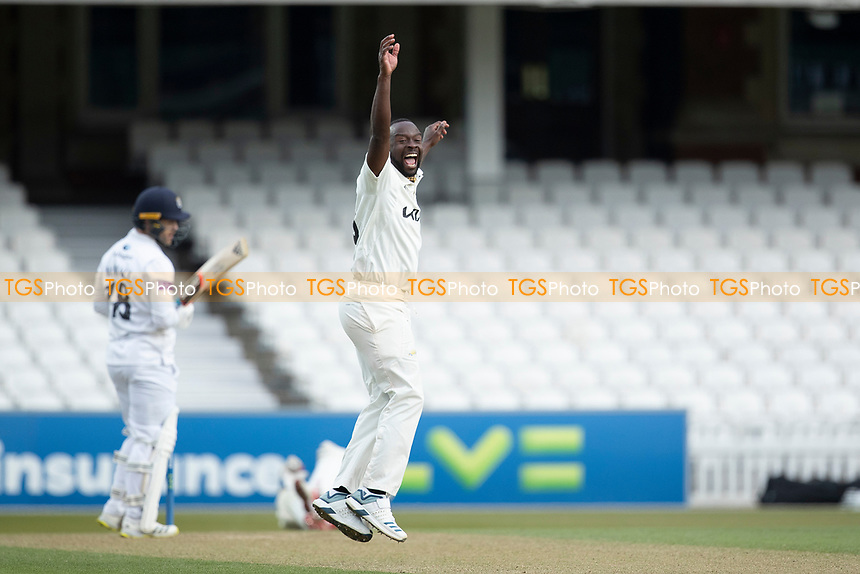 Kemar Roach, Surrey CCC appeals and collects his eight victim in the innings as Lewis McManus, Hampshire CCC is caught behind during Surrey CCC vs Hampshire CCC, LV Insurance County Championship Group 2 Cricket at the Kia Oval on 1st May 2021