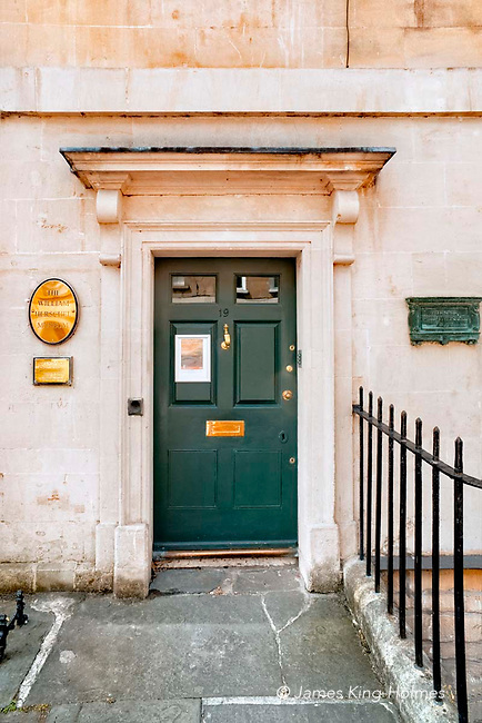 The entrance to the Herschel Museum of Astronomy in Bath, UK. The Museum is housed in the building in which William and Caroline Herschel lived and worked from 1772 until 1782.