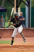 Bristol Pirates third baseman Sherten Apostel (47) at bat during a game against the Elizabethton Twins on July 29, 2018 at Joe O'Brien Field in Elizabethton, Tennessee.  Bristol defeated Elizabethton 7-4.  (Mike Janes/Four Seam Images)