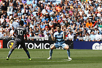 ST. PAUL, MN - AUGUST 21: Luis Martins #36 of Sporting Kansas City with a header during a game between Sporting Kansas City and Minnesota United FC at Allianz Field on August 21, 2021 in St. Paul, Minnesota.