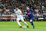 Lionel Andres Messi (R) of FC Barcelona fights for the ball with Carlos Henrique Casemiro of Real Madrid during the La Liga 2017-18 match between FC Barcelona and Real Madrid at Camp Nou on May 06 2018 in Barcelona, Spain. Photo by Vicens Gimenez / Power Sport Images