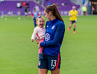 ORLANDO, FL - FEBRUARY 21: Alex Morgan #13 of the USWNT walks the field after a game between Brazil and USWNT at Exploria Stadium on February 21, 2021 in Orlando, Florida.